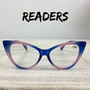 Ladies 50mm Lens Designer Cat Eye Reading Glasses